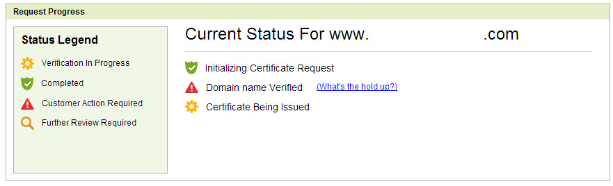 Domain SSL Confirmation Status