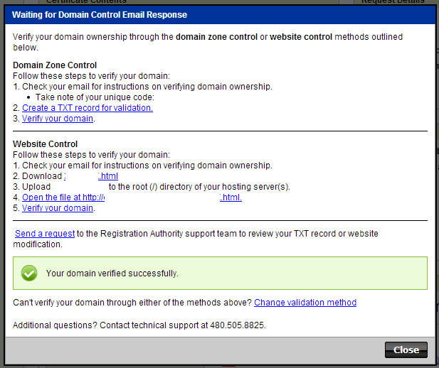 Domain Control Email Response SSL Verification